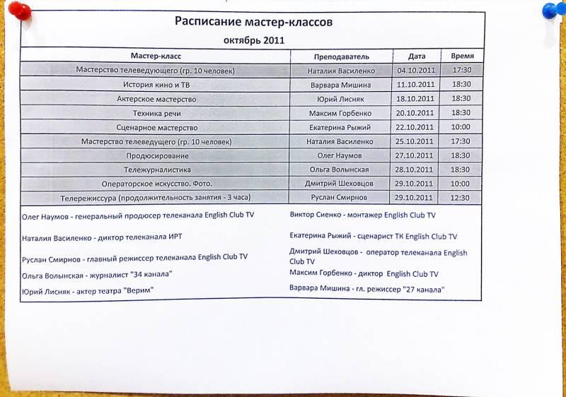 Расписание мастер-классов в иголочке